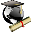 globe with mortar board and diploma